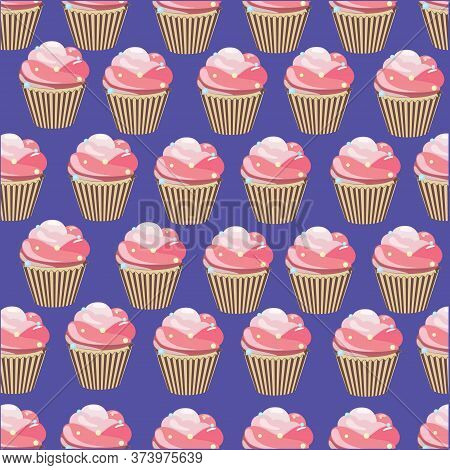 Cupcake Pattern. Seamless Colorful Cupcake Pattern. Vector Illustration