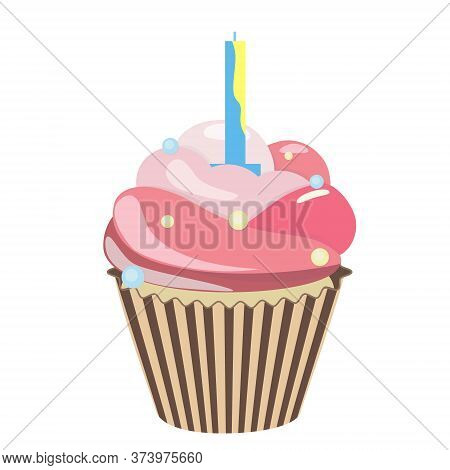 Birthday Cupcake With Candle. Realistic Cupcake. Sweet Creamy Desserts Muffins With Frosting Flavors
