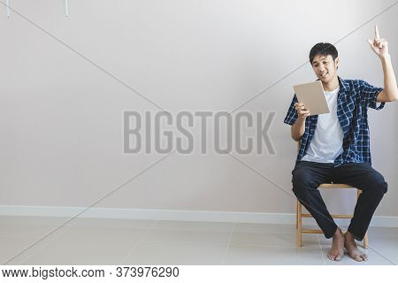 Asian Man Business Marketing The Developer Creative Working Online Work From Home Or Asian Male Port