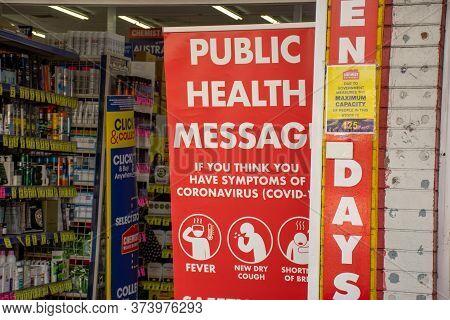 Sydney, Australia 2020-06-28 Chemist Warehouse Entrance In Caringbah, Nsw. Public Health Message Reg