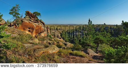 Eastern Kazakhstan. Bayanaul Natural Mountain Park Is Considered To Be One Of The Most Popular Touri