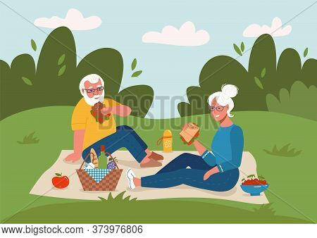 Old Couple Having Picnic Outdoors Happy Retirement Flat Vector Sketch Illustration. Elderly Man And