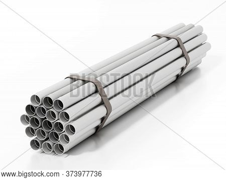 Pvc Water Tubes Isolated On White Background. 3d Illustration.