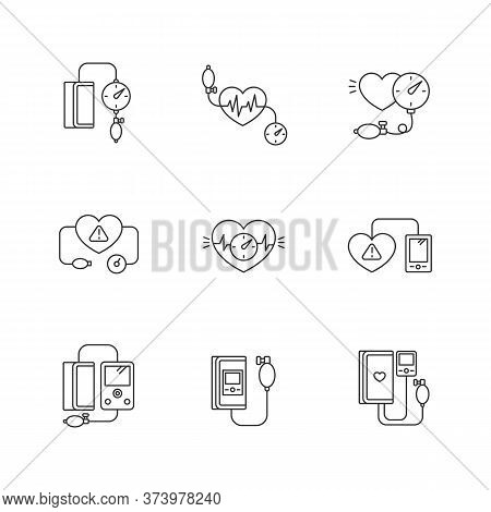 Early Pregnancy Symptom Pixel Perfect Linear Icons Set. High Blood Pressure. Tonometer For Heartbeat