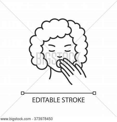 Drowsiness Pixel Perfect Linear Icon. Sleepy Woman. Tired Lady. Early Symptom Of Pregnancy. Thin Lin
