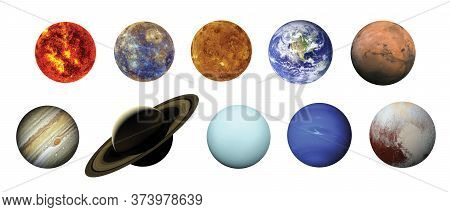 Solar System Isolated On White Background With Clipping Path. Elements Of This Image Furnished By Na