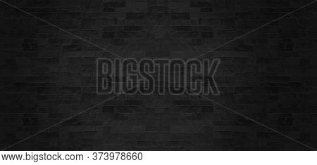 The Black Stone Wall Pattern Texture Background.