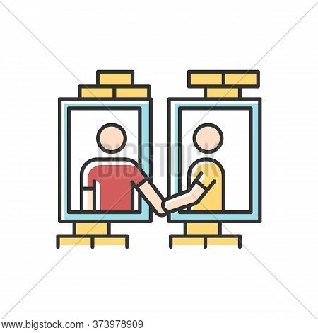 Neighbors In Window Frames Rgb Color Icon. Dormitory Mates Relationship. Dormmates Greeting Each Oth