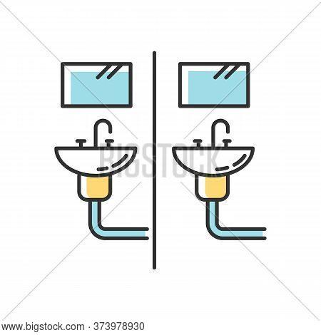 Communal Bathroom Rgb Color Icon. Bathing Arrangement. Common Washbasins. Shared Bath. Dormitory Con