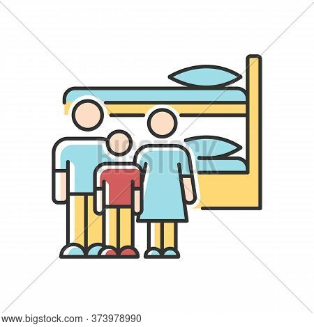 Family Dormitory Rgb Color Icon. Shared Dorm Room. Common Bedroom. Accommodation Facility. Bunk Bed.