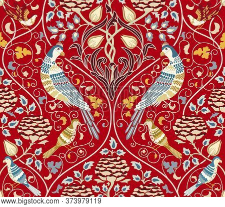 Vintage Flowers And Birds Seamless Pattern On Red Background. Middle Ages Style William Morris Backg