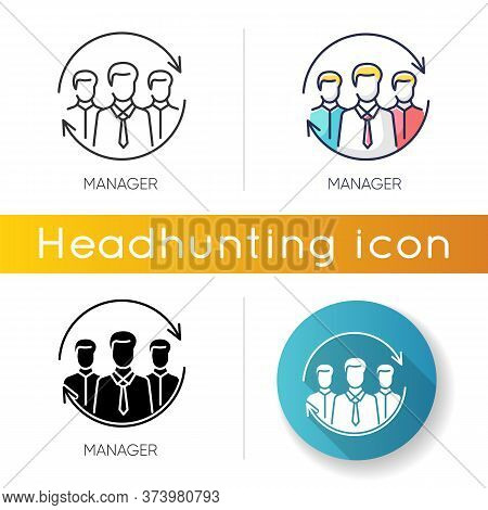 Manager Icon. Linear Black And Rgb Color Styles. Corporate Management. Professional Occupation, Huma