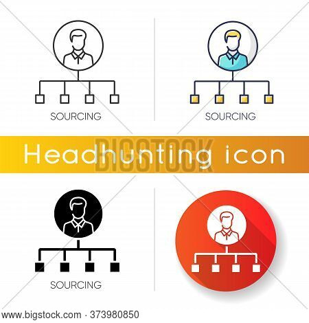 Sourcing Icon. Linear Black And Rgb Color Styles. Talent Acquisition, Recruitment Strategy. Headhunt
