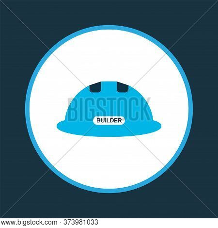 Construction Helmet Icon Colored Symbol. Premium Quality Isolated Hardhat Element In Trendy Style.