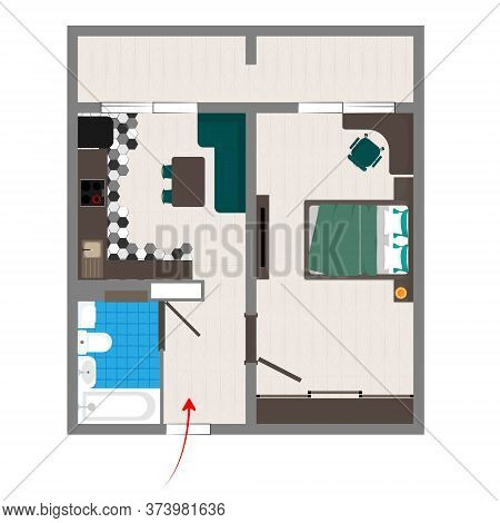 Drawing Layout Apartment Plan With The Arrangement Of Furniture.