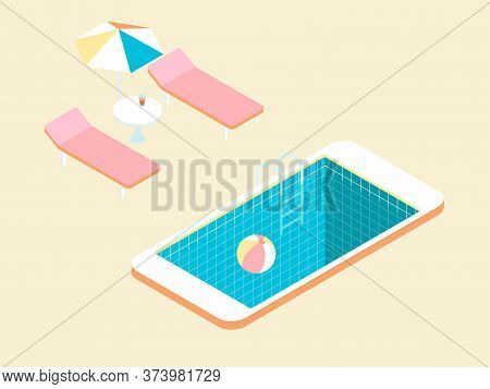 Poolside In Isometry With Lightly Retro Vibes