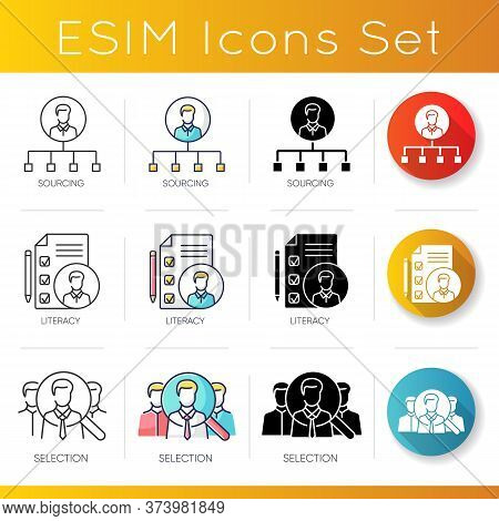 Recruitment Icons Set. Linear, Black And Rgb Color Styles. Sourcing Literacy And Selection. Professi
