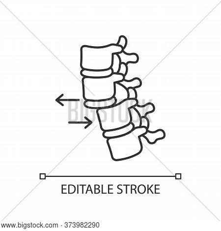 Spine Dislocation Pixel Perfect Linear Icon. Displacement Of Spinal Vertebra. Spinal Injury. Thin Li