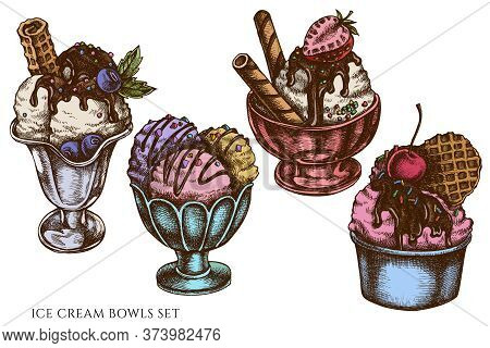 Vector Set Of Hand Drawn Colored Ice Cream Bowls Stock Illustration
