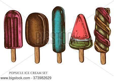 Vector Set Of Hand Drawn Colored Popsicle Ice Cream Stock Illustration