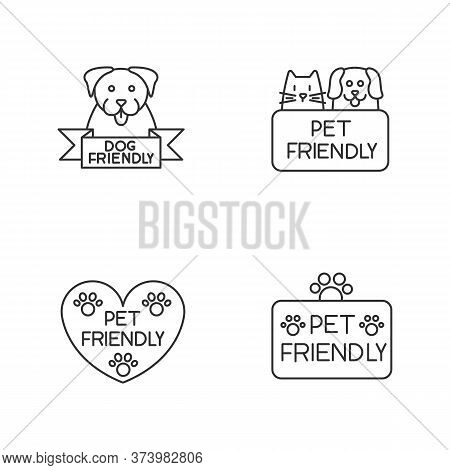 Pet Friendly Service Pixel Perfect Linear Icons Set. Animals Grooming Salon, Cats And Dogs Allowed A