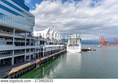 Vancouver, British Columbia / Canada - 06/13/2015. The Radiance Of The Seas Ship Berthed At Canada P