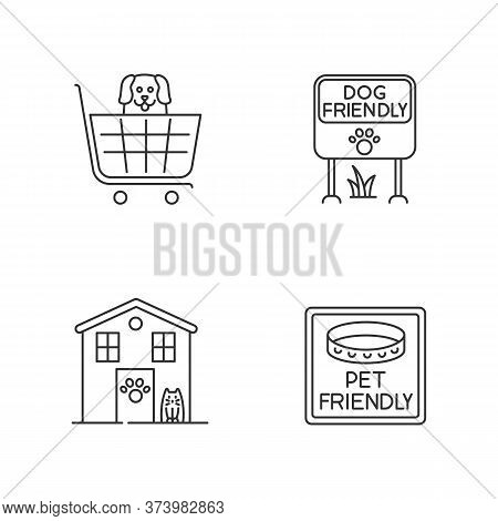 Pet Friendly Areas Pixel Perfect Linear Icons Set. Four-legged Friends Welcome Shops And Houses. Cus