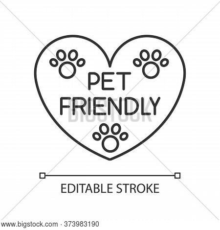 Pet Friendly Area Sign Pixel Perfect Linear Icon. Grooming Salon Heart Shaped Logo, Welcome Zone. Th