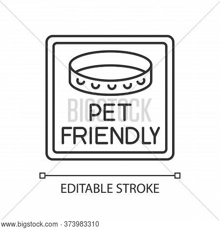 Pet Friendly Area Sign Pixel Perfect Linear Icon. Animals With Collars Allowed. Thin Line Customizab