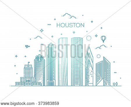Houston City Skyline, Vector Illustration In Linear Style. Texas, United States