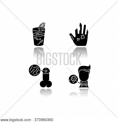 Endemic Diseases Drop Shadow Black Glyph Icons Set. Cholera, Leprosy, Syphilis And Diphtheria Viruse