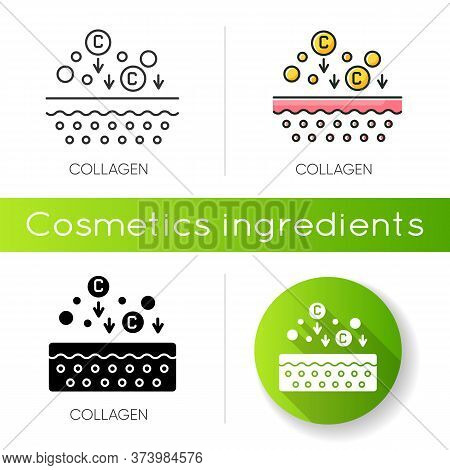 Collagen Icon. Chemical Components. Dermatology And Cosmetology. Skincare Treatment. Fibre Structure