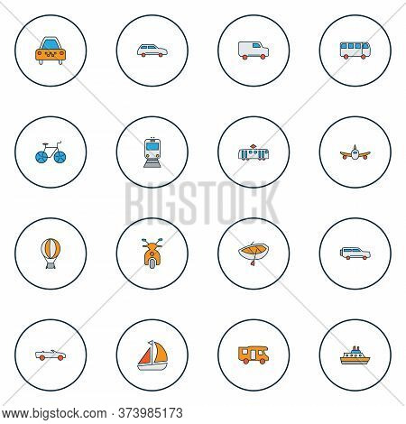 Transit Icons Colored Line Set With Plane, Van, City Car And Other Autobus Elements. Isolated Illust