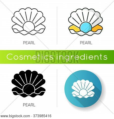 Pearl Icon. Open Seashell. Brightening Effect. Component To Prevent Aging. Expensive Oyster. Ocean S