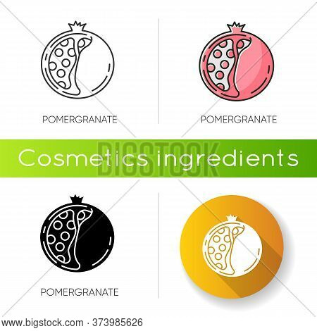 Pomegranate Icon. Natural Exfoliant. Sliced Fruit With Seeds. Shana Tova. Nourishing Treatment Compo