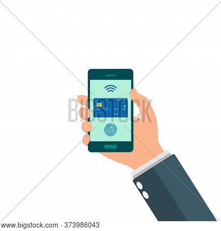 Hands Holding Smartphone With Online Banking Payment Apps. Transfer, Bill Payment. Payment By Credit