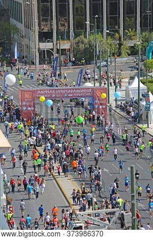 Athens, Greece - May 03, 2015: Aerial View Of Finish Line Of Half Marathon In Front Of Hellenic Parl