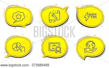 Spanner Sign. Diploma Certificate, Save Planet Chat Bubbles. Loyalty Star, Quickstart Guide And Pie