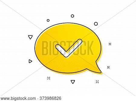 Accepted Or Confirmed Sign. Approve Icon. Speech Bubble Symbol. Yellow Circles Pattern. Classic Appr