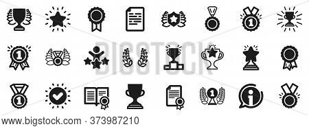 Set Of Winner Medal, Victory Cup And Laurel Wreath Award Icons. Award Icons. Reward, Certificate And