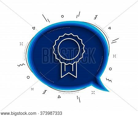 Award Medal Line Icon. Chat Bubble With Shadow. Winner Achievement Symbol. Glory Or Honor Sign. Thin