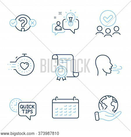 Breathing Exercise, Quiz Test And Quick Tips Line Icons Set. Diploma Certificate, Save Planet, Group