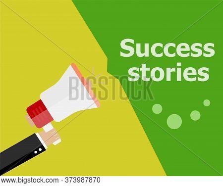 Flat Design Business Concept. Success Stories. Digital Marketing Business Man Holding Megaphone For