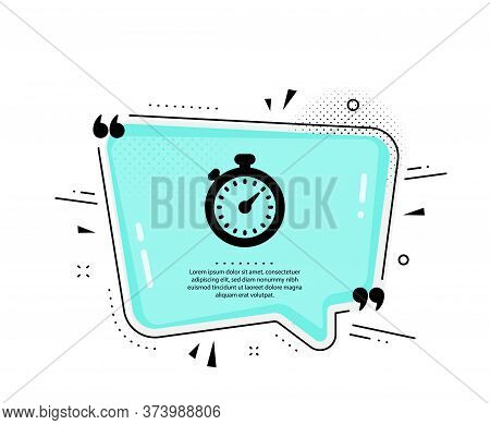 Timer Icon. Quote Speech Bubble. Stopwatch Symbol. Time Management Sign. Quotation Marks. Classic Ti