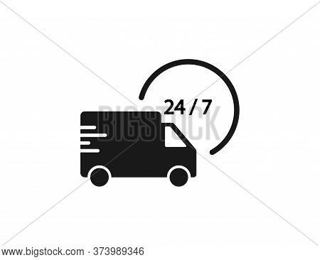 Delivery Truck Icon. 24 7 Shipping Service. Fast Courier Van. Transport Express Retail. Free Shippin