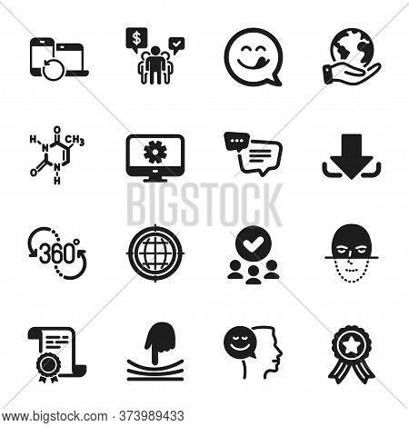 Set Of Technology Icons, Such As Text Message, Yummy Smile. Certificate, Approved Group, Save Planet