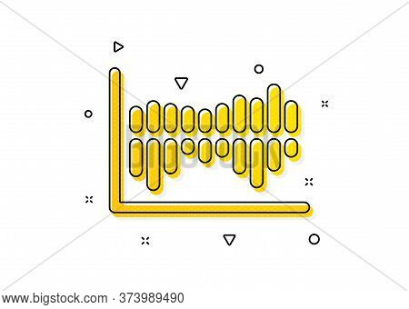 Financial Graph Sign. Column Chart Icon. Stock Exchange Symbol. Business Investment. Yellow Circles