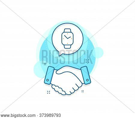 Clock Sign. Handshake Deal Complex Icon. Digital Time Line Icon. Smartwatch Symbol. Agreement Shakin