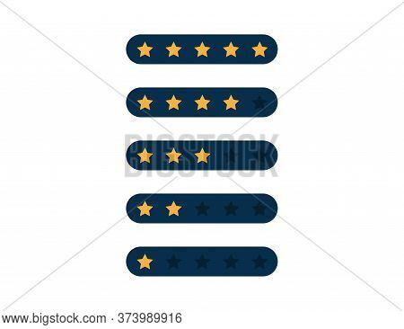 Star Rating. Quality Review In Dark Blue Style. Modern Flat Design. Gold Rank Stars Of Feedback. Eva