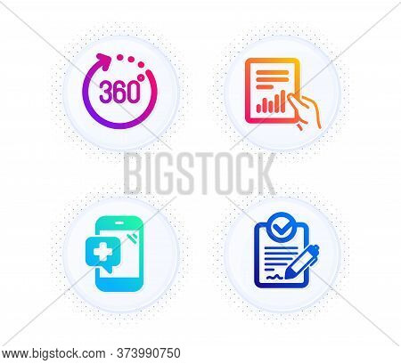 Medical Phone, Document And 360 Degrees Icons Simple Set. Button With Halftone Dots. Rfp Sign. Mobil